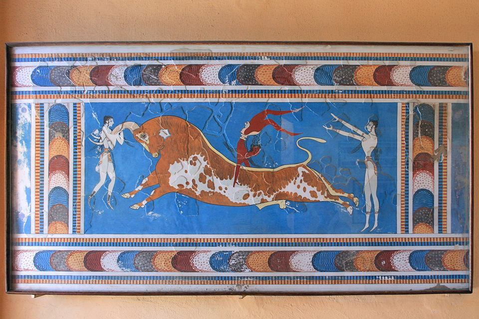 Fresk z Wielkiego Pałacu w Knossos na Krecie