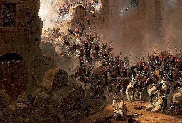 'Szturm na mury Saragossy' - obraz Januarego Suchodolskiego z 1845 r. Wojska polsko-francuskie dwukrotnie oblegały miasto, pierwszy raz latem 1808 r., drugi raz - zakończony zdobyciem miasta - zimą następnego roku.