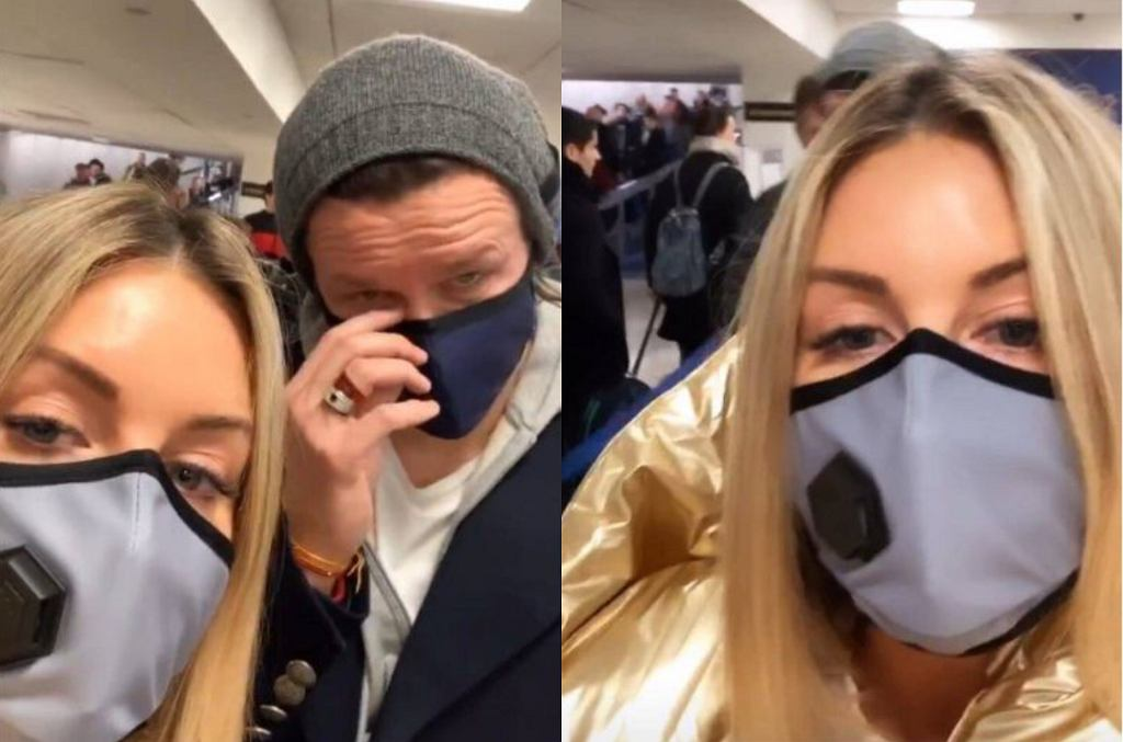 Małgorzata Rozenek i Radosław Majdan noszą na lotnisku maski