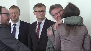 Sędziowie nowej KRS: (od tyłu) Dagmara Pawełczyk-Woicka, Zbigniew Łupina, Marek Jaskulski, Grzegorz Furmankiewicz, Jędrzej Kondek.