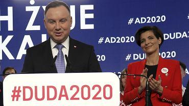 Prezydent Andrzej Duda szefowa kampanii Jolanta Turczynowicz - Kieryłło podczas prezentacji składu sztabu wyborczego, 19 lutego 2020.