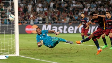 Pedro strzela zwycięskiego gola. Superpuchar Europy 2015: Barcelona - Sevilla 5:4