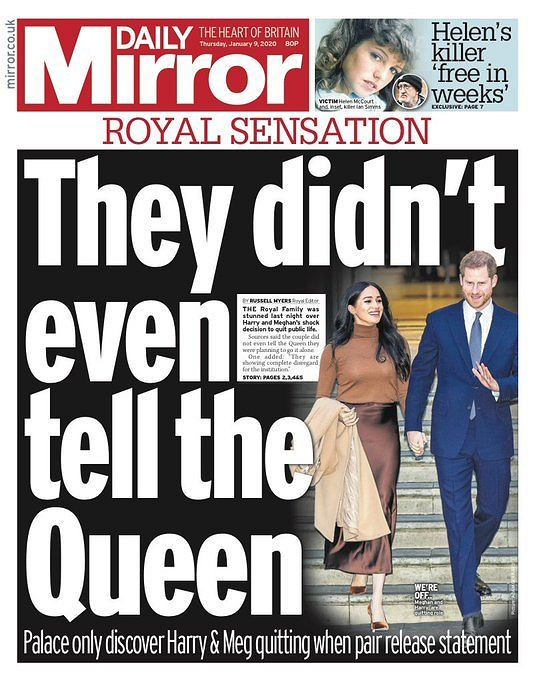 Meghan i Harry na okładce 'Daily Mirror'