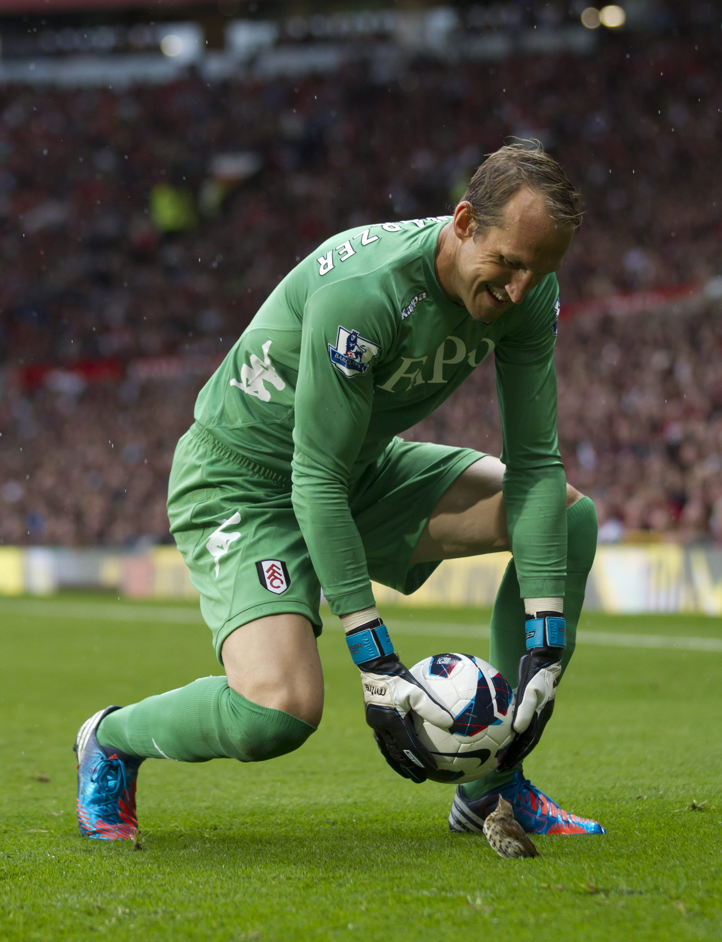 Fulham's goalkeeper Mark Schwarzer moves a bird from the pitch as his team lose 3-2 to Manchester United during their English Premier League soccer match at Old Trafford Stadium, Manchester, England, Saturday, Aug. 25, 2012. (AP Photo/Jon Super)