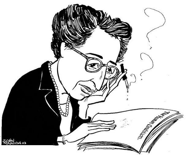 Nie próbowała się wyrzekać swoich doświadczeń i tych, które dotyczyły jej żydowskości,  i tych, które nie miały z żydowską tożsamością nic wspólnego. Brała za nie pełną odpowiedzialność. Hannah Arendt, karykatura autorstwa angielskiego ilustratora Johna Minniona, 2003
