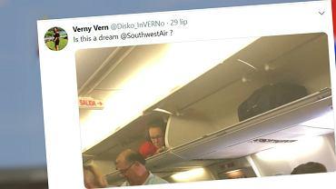 Stewardessa schowała się w schowku na bagaże