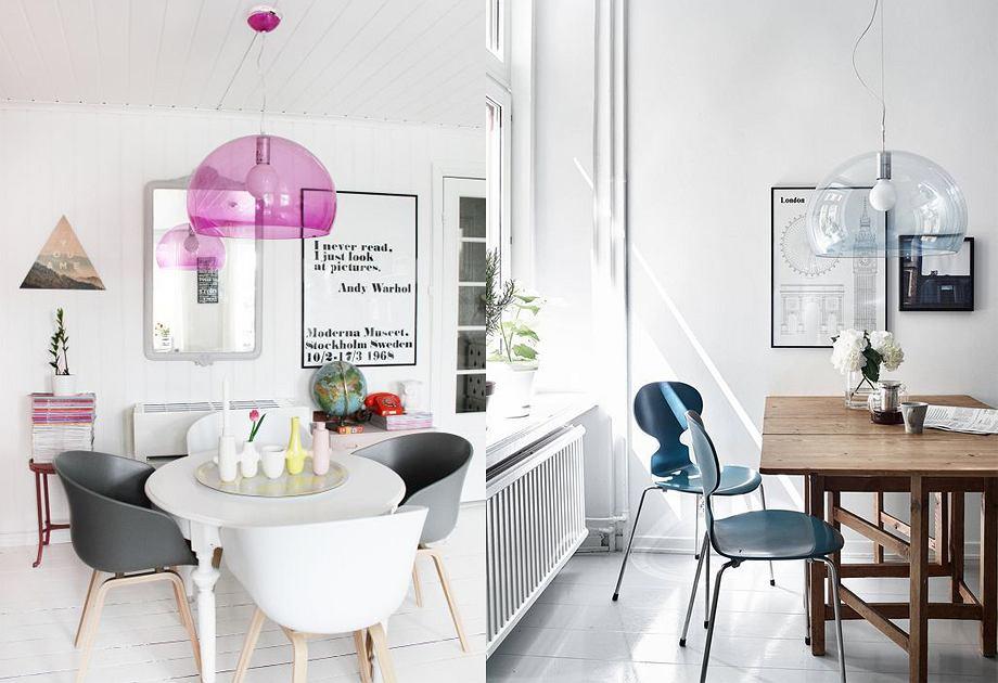 Plasikowe lampy FLY Kartell pasują zarówno do wnętrzarskiej klasyki, jak i stylu nowoczesnego