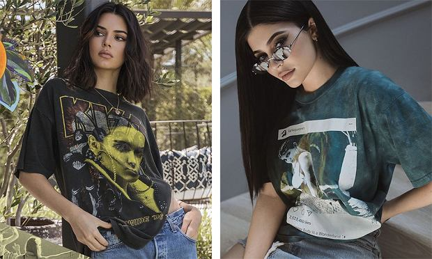 Vintage t-shirty Kendall+Kylie Jenner
