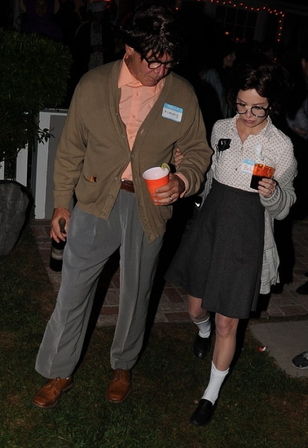 Harrison Ford and wife Calista Flockhart dress up as geeks as they head to a Halloween party in Brentwood, CA.  Pictured: Harrison Ford and Calista Flockhart