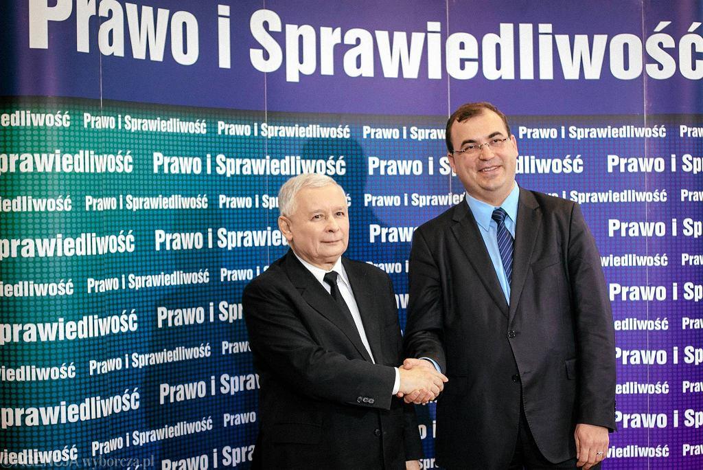 Jarosław Kaczyński, prezes PiS i poseł Andrzej Jaworski (od lewej)