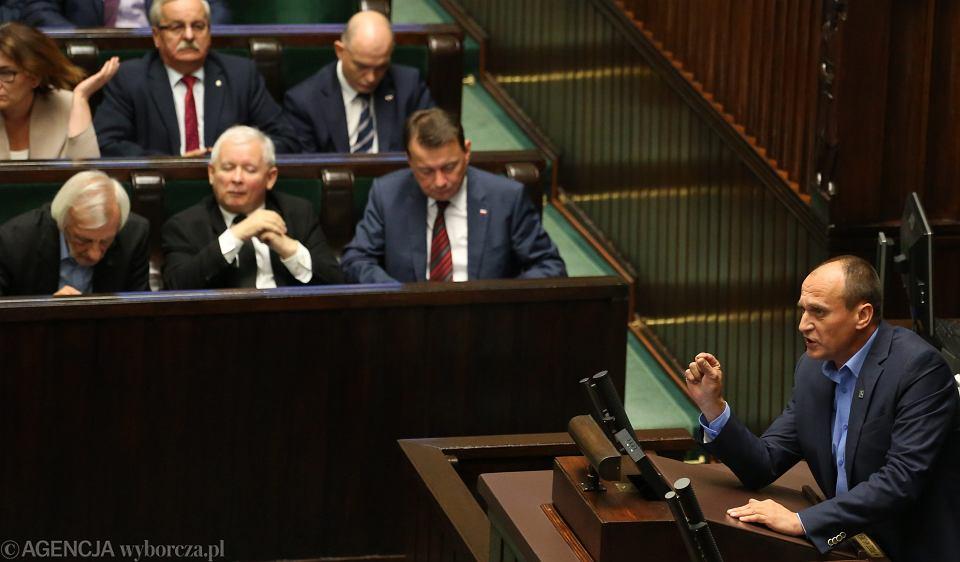 Paweł Kukiz i Jarosław Kaczyński po głosowaniach nad ustawą aborcyjną