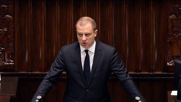 Wiceminister Tomasz Szatkowski podczas posiedzenia Sejmu VIII Kadencji