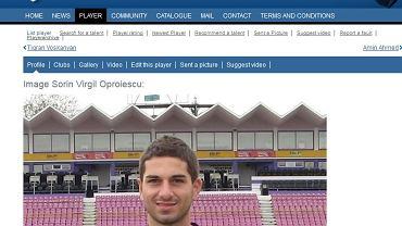 Screen z profilu Sorina Oproiescu zamieszczonego w jednym z piłkarskich portali.