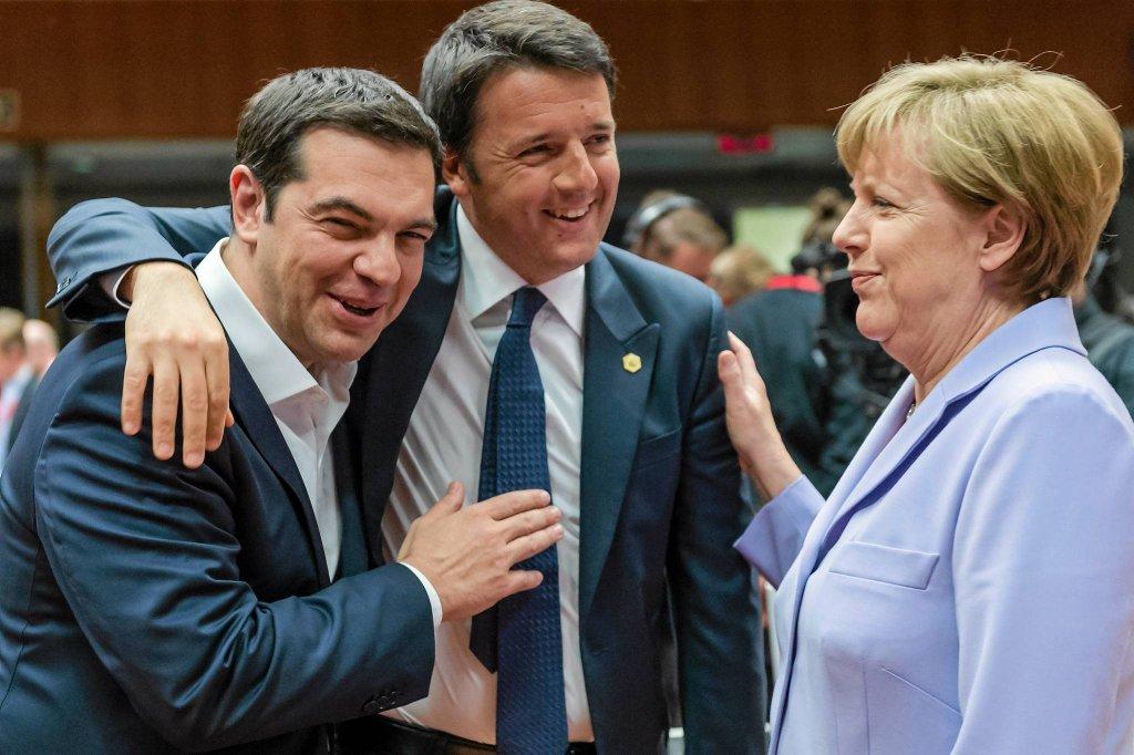 Aleksis Cipras, Matteo Renzi i Angela Merkel
