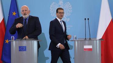 Wiceprzewodniczący Komisji Europejskiej Frans Timmermans i premier Mateusz Morawiecki, 18 czerwca 2018.