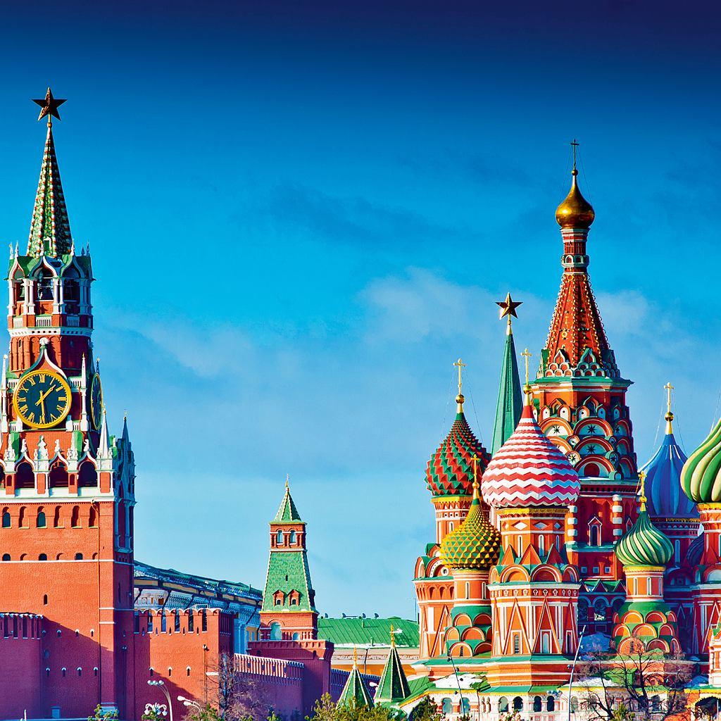Moskwa, Sobór Wasyla Błogosławionego łączy wsobie cechy włoskiego renesansu itradycyjnej architektury rosyjskiej