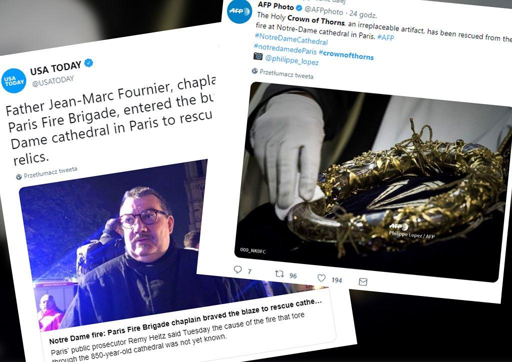 Relikwie korony cierniowej zostały uratowane. Z katedry Notre Dame wyniósł je bohaterski ksiądz