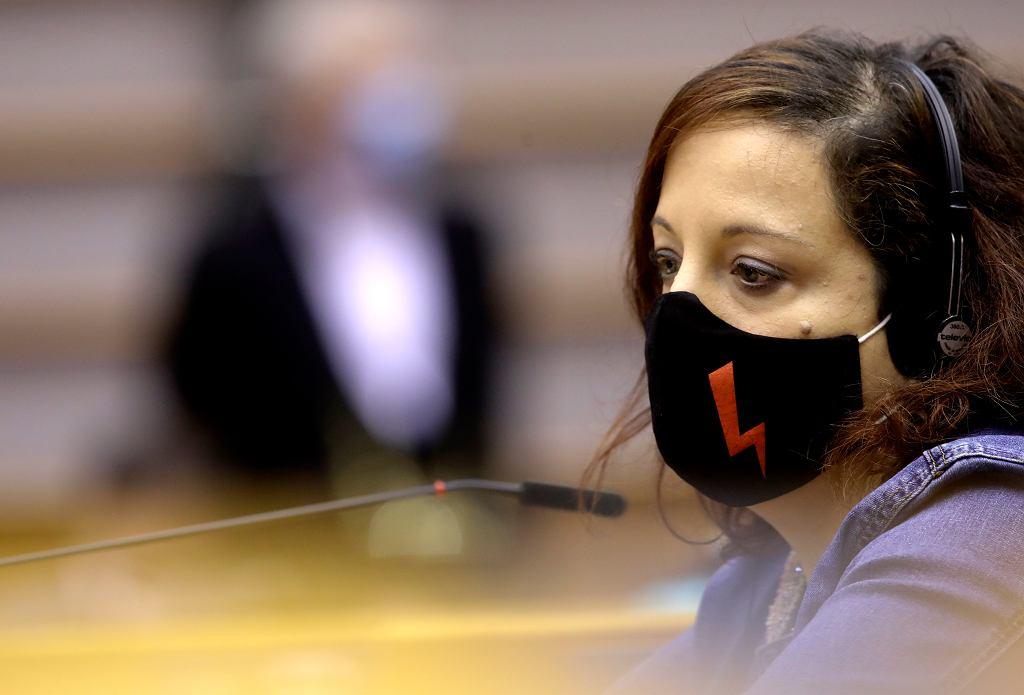 Europosłanka z Hiszpanii Iratxe Garcia Perez podczas debaty o zaostrzeniu prawa aborcyjnego w Polsce. Sesja Plenarna Parlamentu Europejskiego, Bruksela, 9 lutego 2021