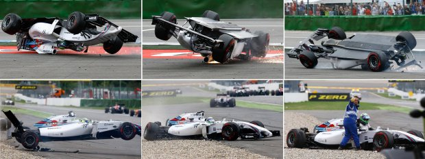 A combination of six pictures shows Williams Formula One driver Felipe Massa of Brazil crashing with his car in the first corner after the start of the German F1 Grand Prix at the Hockenheim racing circuit, July 20, 2014.    REUTERS/Kai Pfaffenbach (GERMANY - Tags: SPORT MOTORSPORT F1 TPX IMAGES OF THE DAY)