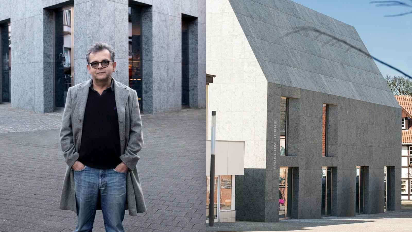 Werner Jerke przed muzeum (fotografia po lewej autorstwa Andrzeja Świetlika, po prawej: Museum Jerke)