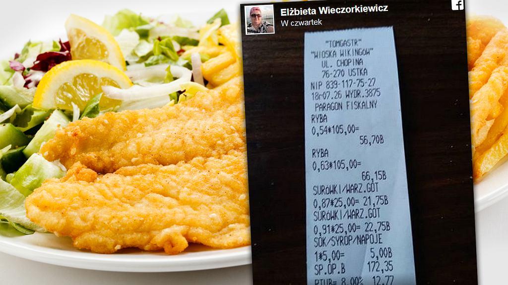 Za obiad z rybką w Ustce klientka zapłaciła ponad 170 zł. Podali go na papierowym talerzyku