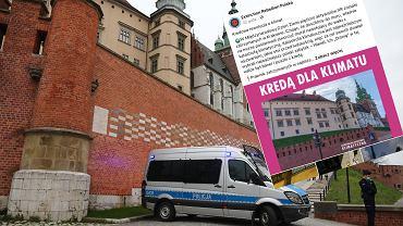 Kraków. Grupa aktywistów klimatycznych chciała zrobić napis kredą. Zatrzymała ich policja