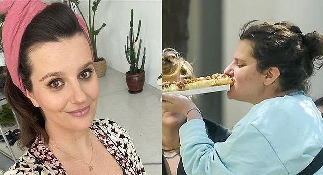 Zofia Zborowska pozuje z zapieksą