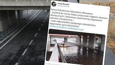 Południowa Obwodnica Warszawy zalana po burzy