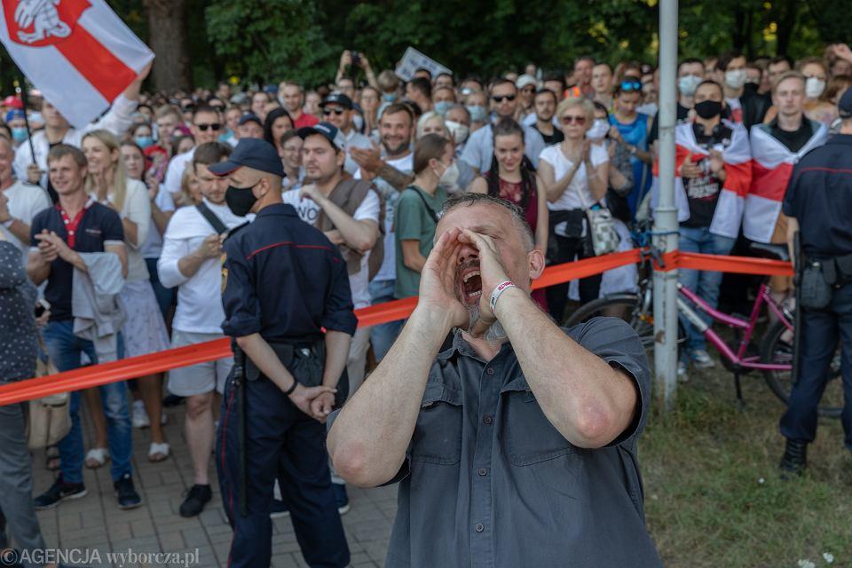 06.08.2020  Mińsk , Białoruś , Skwer Kijowski . Wiec poparcia białoruskiej opozycji w czasie Swięta Dodatkowej Edukacji .