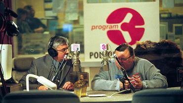 Wojciech Mann i Marek Niedźwiecki prowadzą 1000. wydanie Listy Przebojów Trójki ( Fot. Arkadiusz Suchocki / Agencja Gazeta