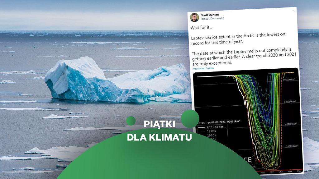 Arktyka i zmiany klimatu. Topnienie lodu na Morzu Łaptiewów.