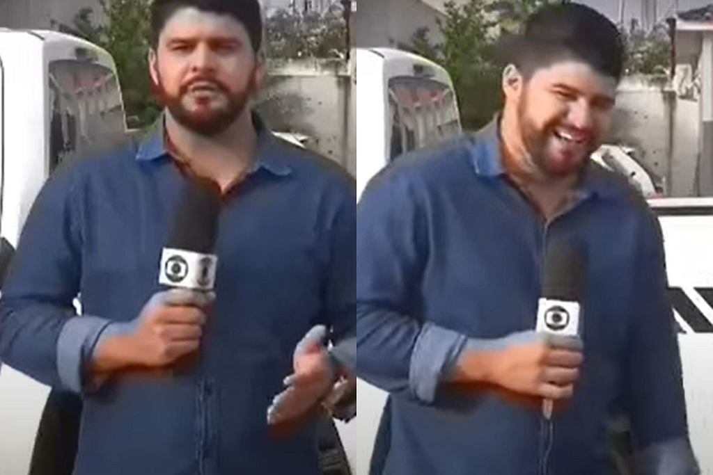 Brazylijski dziennikarz nie mógł powstrzymać śmiechu podczas programu na żywo