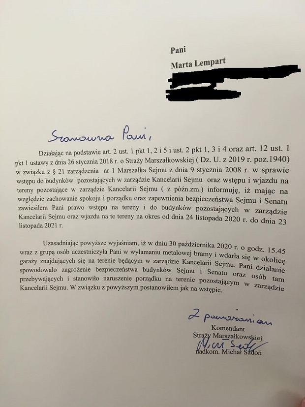 Pismo komendanta Straży Marszałkowskiej do Marty Lempart
