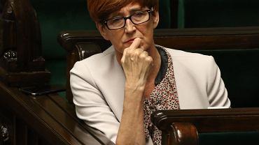 Minister rodziny i pracy i polityki społecznej Elżbieta Rafalska. Posłowie podczas wieczornego glosowania o świadczeniach socjalnych dla niepełnosprawnych, 10.05.2018.