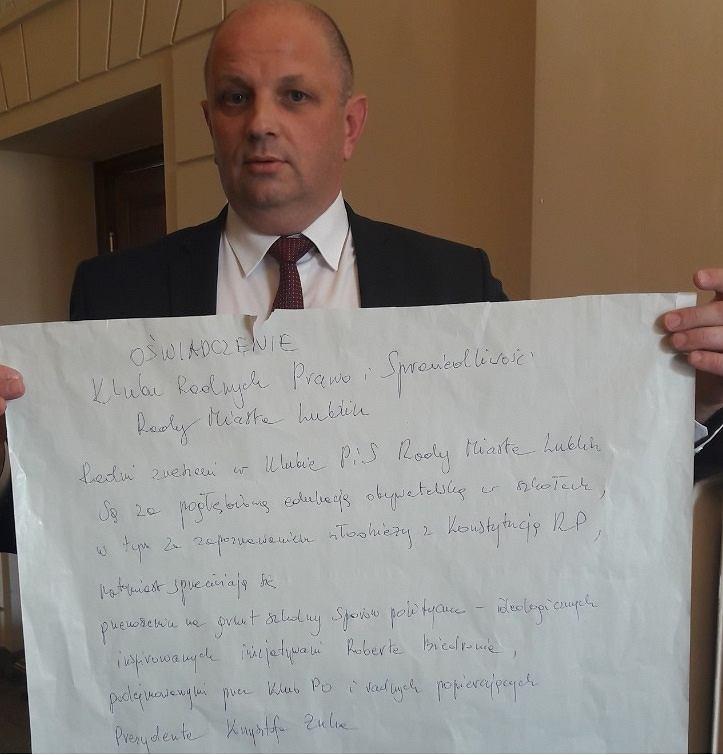 Oświadczenie klubu radnych PiS po przegranym głosowaniu