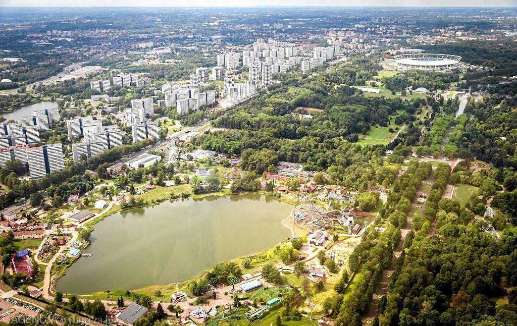 Widok z góry na Legendię, Park Śląski i Stadion Śląski
