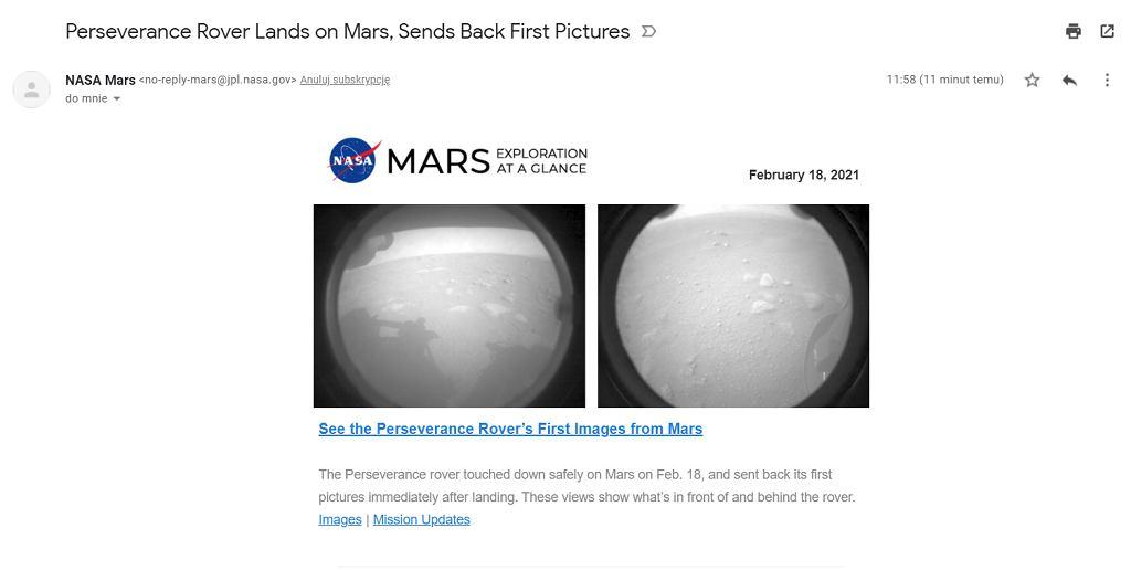 NASA wysłała e-maile do osób, których nazwiska znalazły się na Marsie