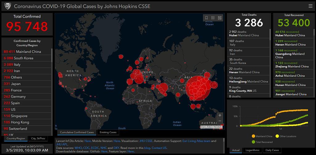 Koronawirus na świecie - mapa