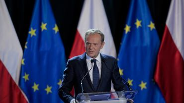 Donald Tusk podczas wykładu na Uniwersytecie Warszawskim