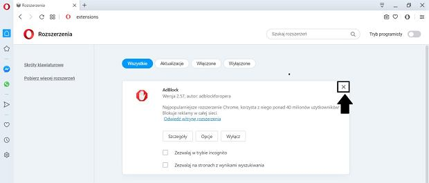 Jak wyłączyć AdBlock w przeglądarce Opera?