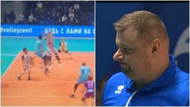 Świetny blok Kochanowskiego (po lewej) odwrócił losy meczu ZAKSY z Zenitem. Władimir Alekno (po prawej) kilka razy tylko pokiwał z uznaniem głową