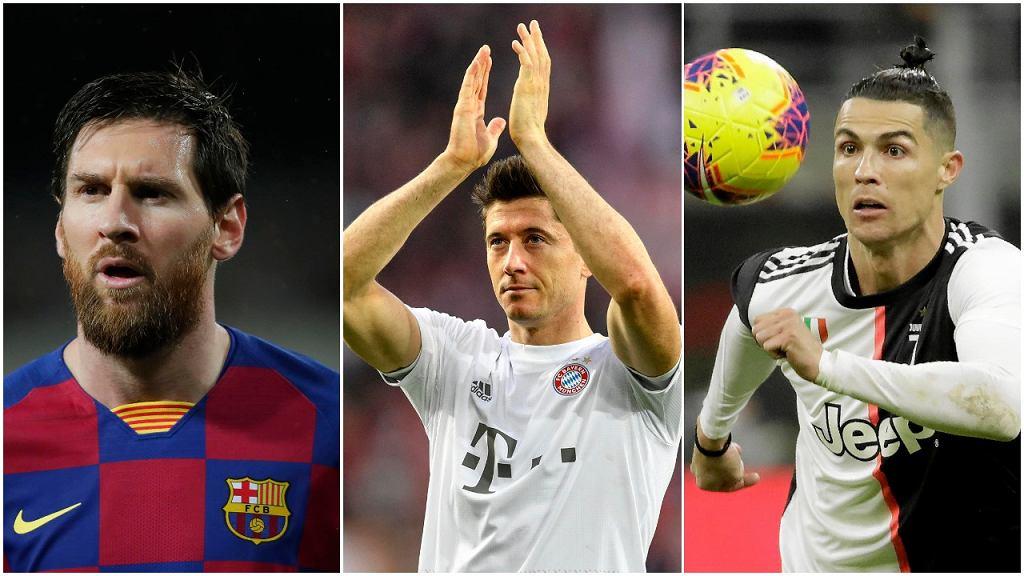 Lionel Messi, Robert Lewandowski i Cristiano Ronaldo
