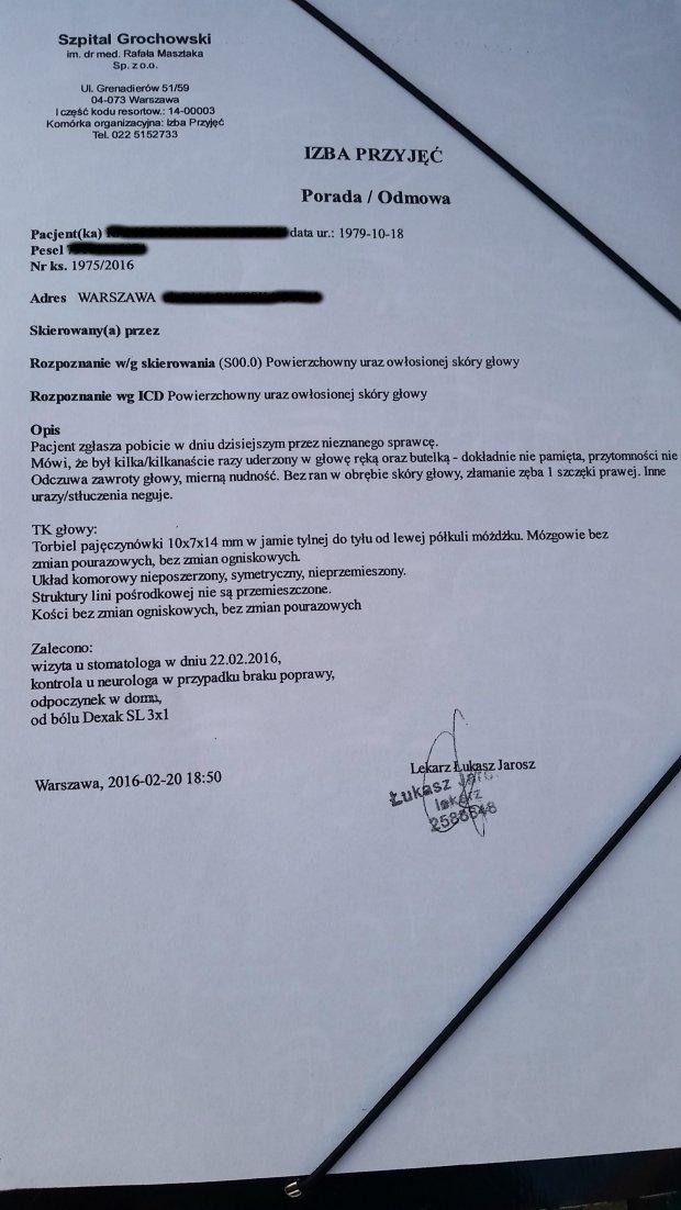 Karta informacyjna ze Szpitala Grochowskiego