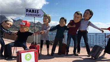 Demonstracja przeciw wyjściu USA z porozumienia paryskiego na tegorocznym szczycie państw grupy G7 we Włoszech.