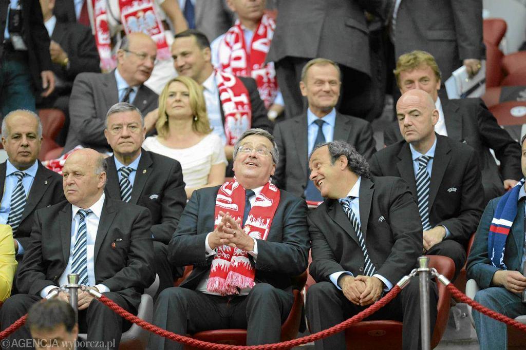 Bronisław Komorowski w czasie meczu Polska - Rosja