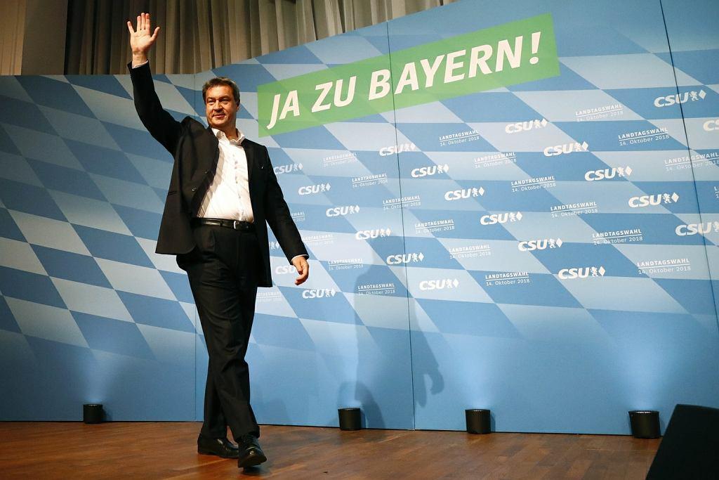 Wybory samorządowe w Bawarii. Na zdjęciu: premier Bawarii Markus Söder, działacz CSU, na wiecu przedwyborczym partii w Monachium