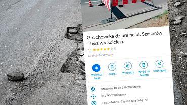 Dziura przy Szaserów 'bohaterką' Google Maps