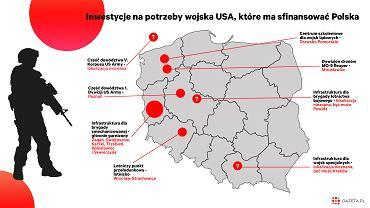 Mapa lokalizacji inwestycji na rzecz wojska USA, które mają zostać sfinansowane przez Polskę
