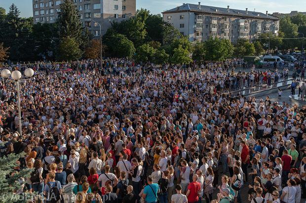 06.08.2020  Mińsk, Białoruś, Skwer Kijowski. Wiec poparcia białoruskiej opozycji w czasie Święta Dodatkowej Edukacji .