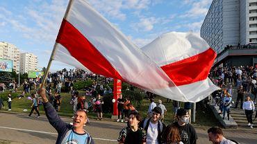 Protest przeciwko wynikom wyborów prezydenckich w Mińsku na Białorusi, 13 sierpnia 2020 r.